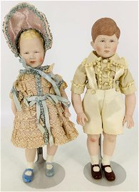 Pair portrait dolls of Princess Ann and Prince Charles