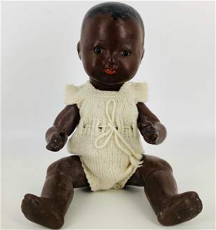 """14"""" A.M. black bisque solid dome head baby. Socket head"""