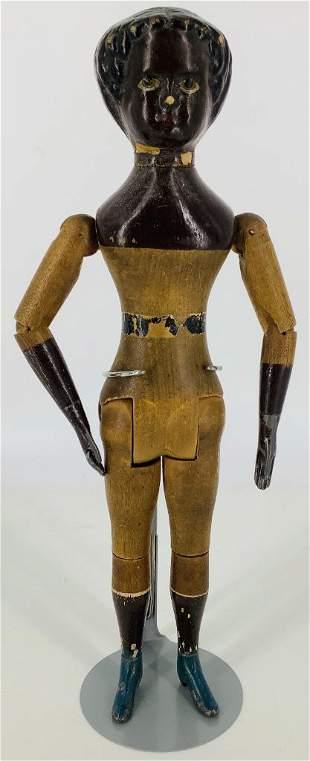 "11 1/2"" black Mason & Taylor wooden doll. Composition"