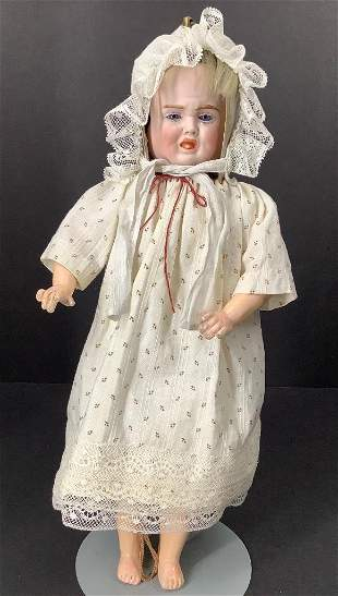 """12 1/2"""" Carl Bergner three-faced doll. Bisque head with"""