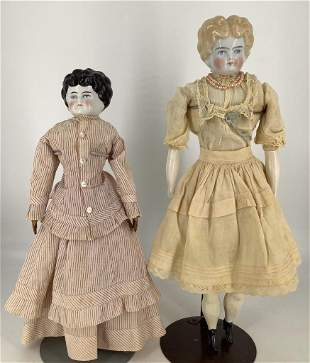"""(2) Lowbrow china shoulder head ladies. Includes 17"""""""
