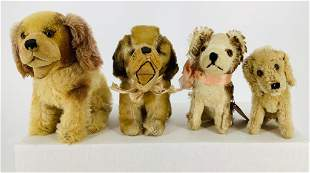 """Lot (4) small plush dogs. Includes 6"""" tall mohair"""