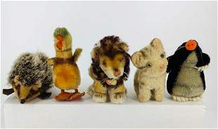 """Lot (5) small mohair Steiff animals. Includes 4"""" long"""