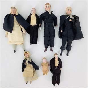 Lot of 7 German bisque should head miniature dolls