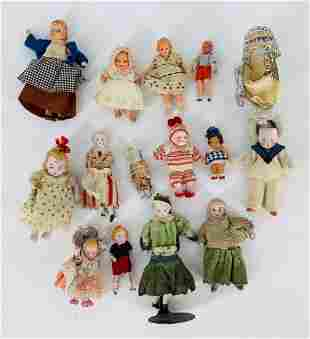 Lot of (15) miniature bisque and composition dolls.