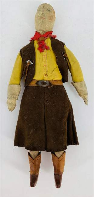 Vintage Leather cowgirl, 11 1/2†tall.