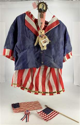Patriotic large doll or Teddy Bear outfit with flags