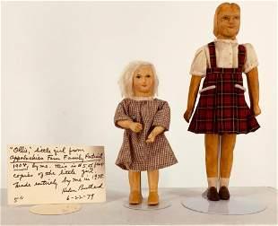 (2) All wood dolls by NIADA artist Helen Bullard.