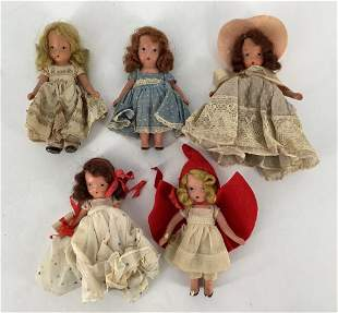 Lot of 5 Nancy Ann painted bisque story book dolls.