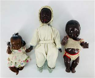 Lot of (3) composition black baby dolls. 16†tall to