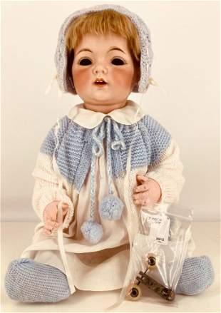 "21"" Fulper bisque socket head baby. Mohair wig, tin"