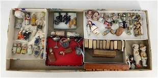 Lot including doll size Bibles, metal chalices, wood