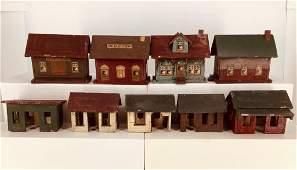 (9) piece miniature village. Unmarked, includes