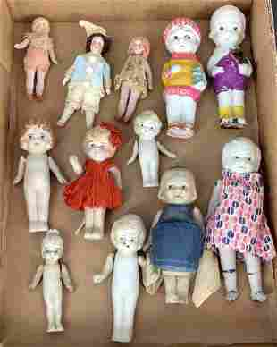 Lot of bisque miniature dolls including immobile's