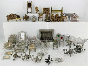 Lot of miniature doll size metal furniture in silver &