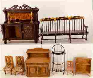 Lot of doll size wood and metal furniture including a