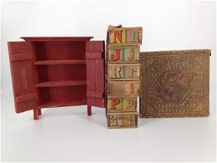 LOT OF WOODEN ITEMS INCLUDING HANDKERCHIEF BOX, DOLL