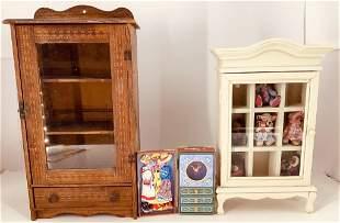 Lot including doll size Wuffy VanderBear armoire trunk