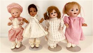 """Lot (4) small bisque socket head dolls. Includes 9 1/2"""""""