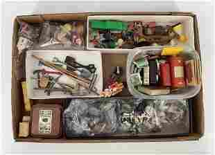 Lot of miniature doll size tools, wood box of miniature