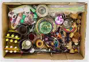 Lot of miniature pop bottles, food items, metal plates,