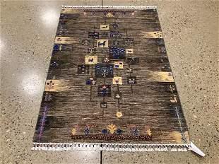 Oriental rug, Afghani Gabbeh pictorial, 3 ′10