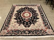 Oriental rug, Sino Tabriz silk and wool rug, 7 &