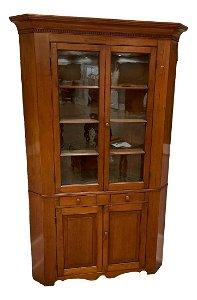 Cherry one piece corner cupboard. 8 pane doors. 50†x