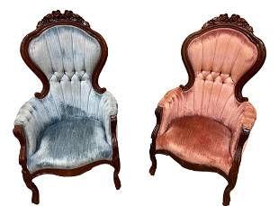 Pair Victorian style his and hers chairs, pink and