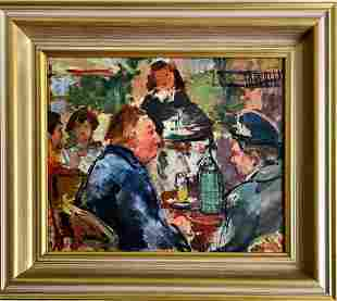 Early 20th c oil or acrylic on board, restaurant scene.