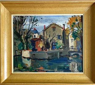 Early 20th c oil or acrylic on board village scene by