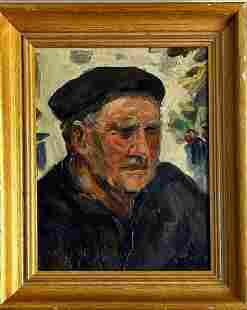Early 20th c impasto portrait of man with cap. signed