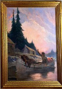 Walter de Maris (1877-1947) oil on canvas, trapper in