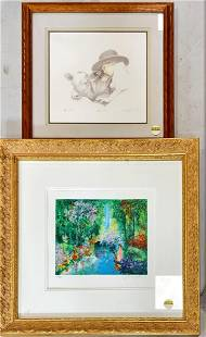 2 framed prints including child with cow and garden