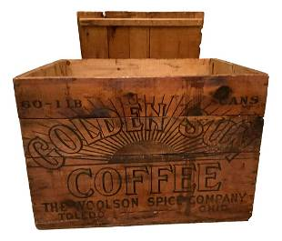 """""""Golden Sun Coffee†crate. """"The Woolsen Spice Co,"""