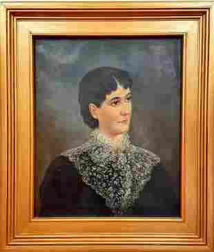 J.A. Jenkins portrait of young woman, oil on canvas.