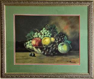 Pastel still life with fruit. Signed V. Boone lower