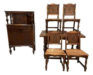 6 piece 1920s oak dining room suite with drawleaf