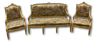 Three piece French style parlor set with settee and two