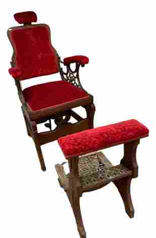Archer Barber Chair company Victorian era wood and cast
