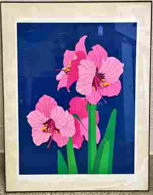 Erwin Kalla lithograph print of pink lillies. Some