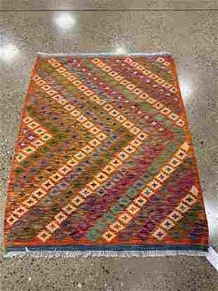Oriental Turkish Caucasian Kazak Kilim rug circa 2010's