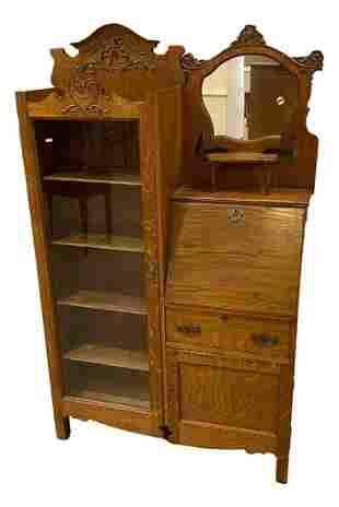 Turn of the century oak side by side bookcase secretary