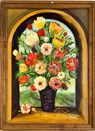 Rev. L.W. Phillips (20th century) Floral still life oil