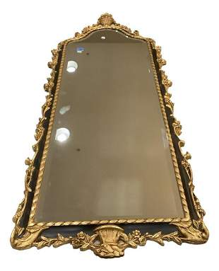 Wooden beveled plate black and gilted mirror with urn
