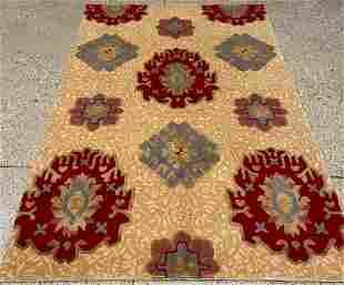 Oriental Sino Turkish Oushak silk and wool rug circa