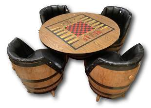 Barrel style gaming table and four chairs, table is