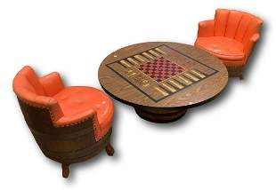 Barrel style game table and two chairs, table is 47â€