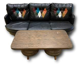 Barrel style sofa and coffee table, sofa is 71†wide.