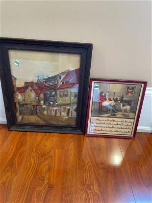 2 pieces art including advertising and watercolor